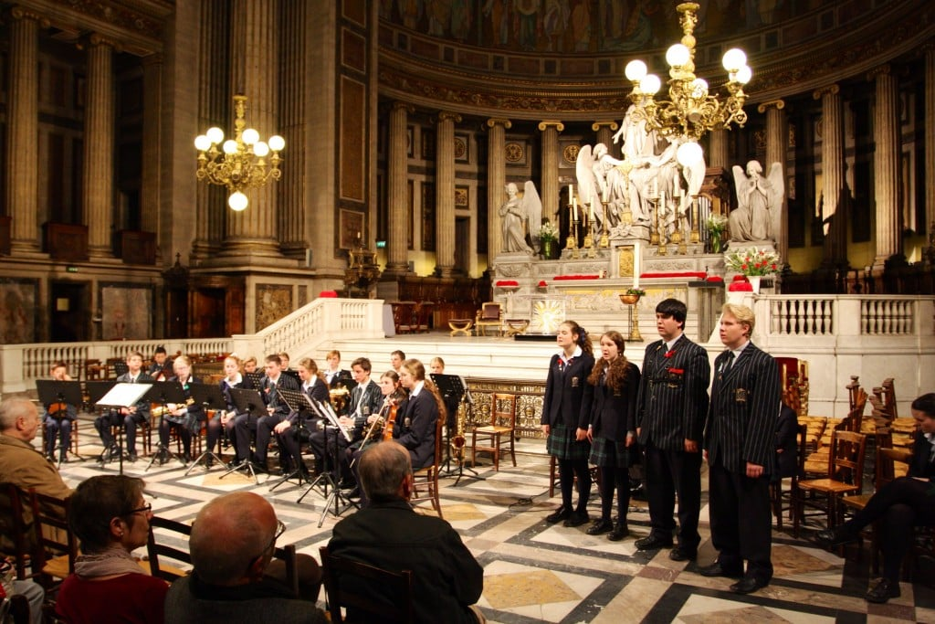 Students perform at Le Madeleine, Paris as part of our European Music Tour